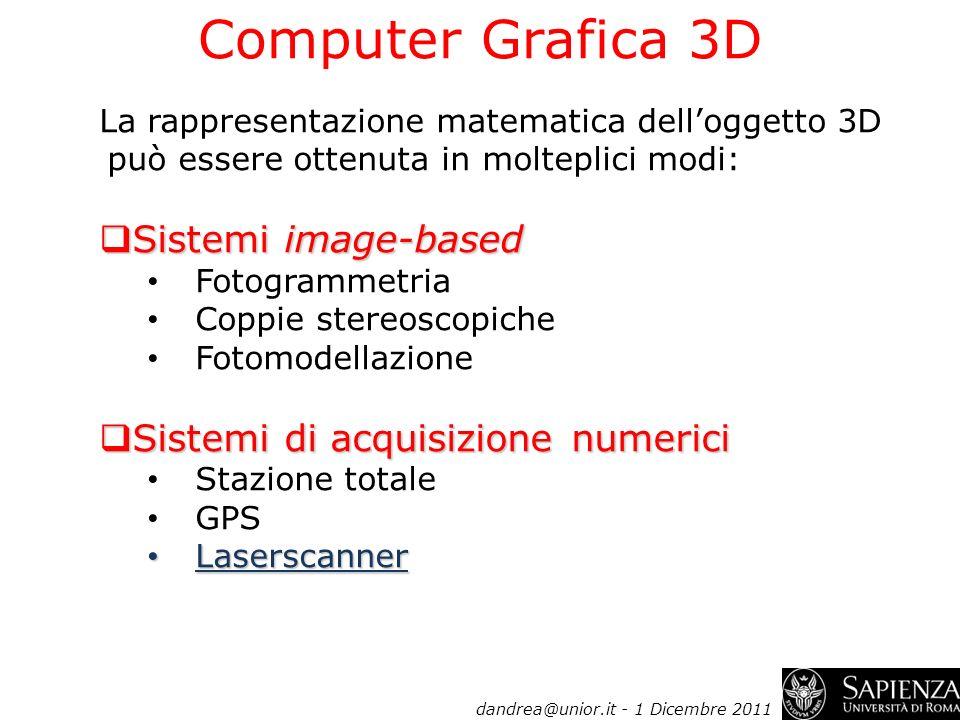 La rappresentazione matematica delloggetto 3D può essere ottenuta in molteplici modi: Sistemi image-based Sistemi image-based Fotogrammetria Coppie st