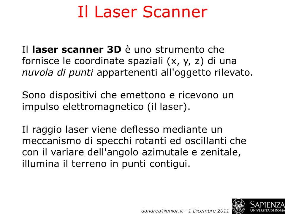 Il Laser Scanner Il laser scanner 3D è uno strumento che fornisce le coordinate spaziali (x, y, z) di una nuvola di punti appartenenti all'oggetto ril