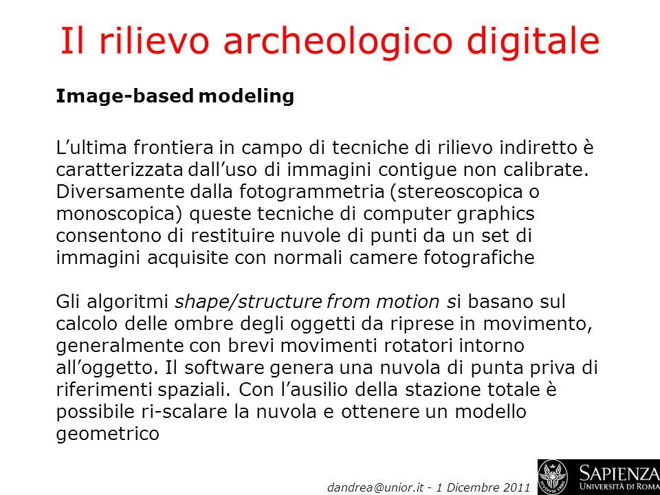 Il rilievo archeologico digitale Image-based modeling Lultima frontiera in campo di tecniche di rilievo indiretto è caratterizzata dalluso di immagini