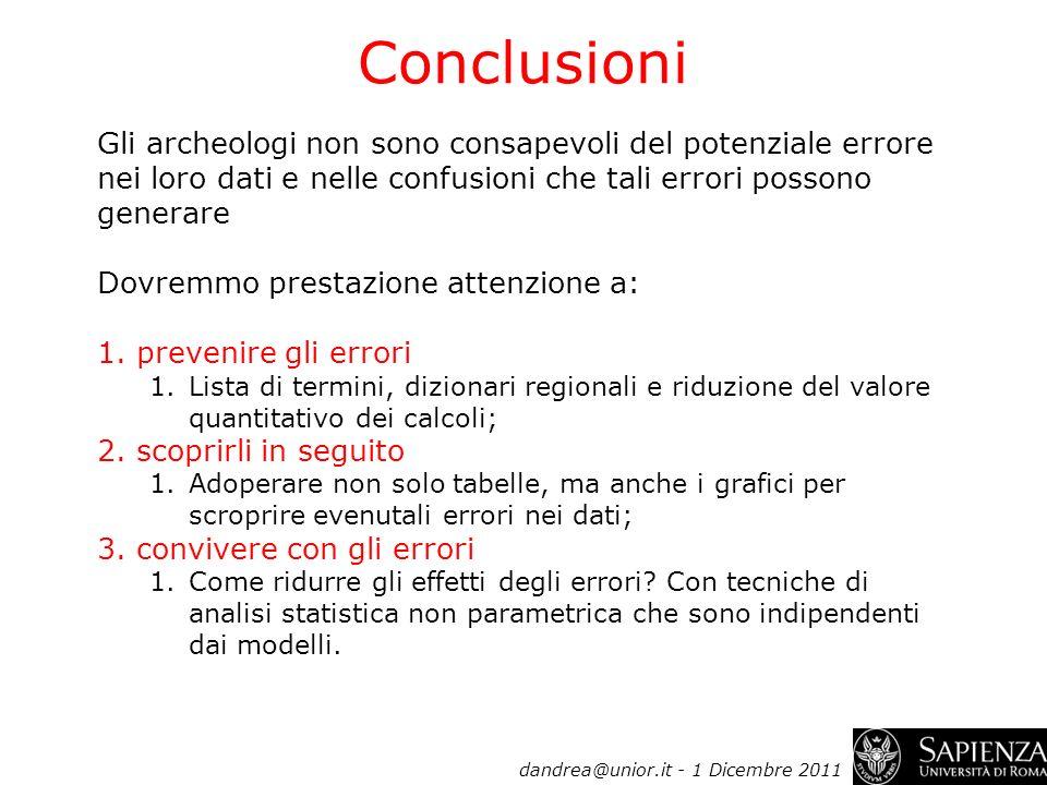 Conclusioni dandrea@unior.it - 1 Dicembre 2011 Gli archeologi non sono consapevoli del potenziale errore nei loro dati e nelle confusioni che tali err