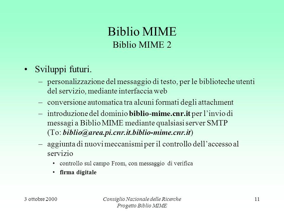 3 ottobre 2000Consiglio Nazionale delle Ricerche Progetto Biblio MIME 11 Biblio MIME Biblio MIME 2 Sviluppi futuri.