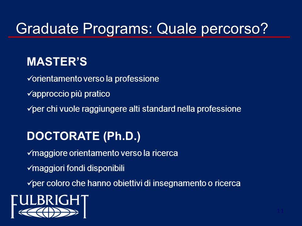 11 Graduate Programs: Quale percorso? MASTERS orientamento verso la professione approccio più pratico per chi vuole raggiungere alti standard nella pr