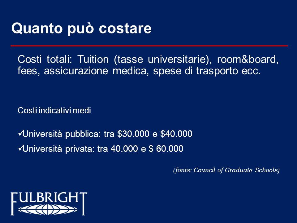 Quanto può costare Costi totali: Tuition (tasse universitarie), room&board, fees, assicurazione medica, spese di trasporto ecc. Costi indicativi medi