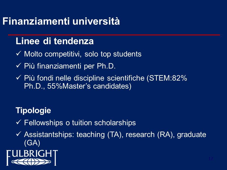 17 Finanziamenti università Linee di tendenza Molto competitivi, solo top students Più finanziamenti per Ph.D. Più fondi nelle discipline scientifiche