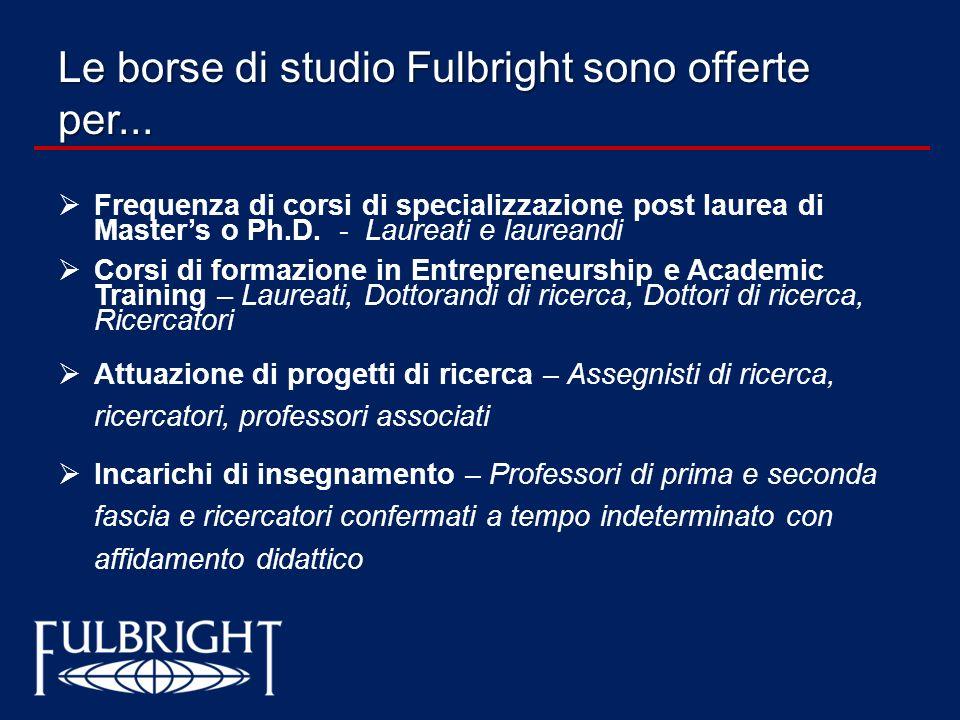 Le borse di studio Fulbright sono offerte per... Frequenza di corsi di specializzazione post laurea di Masters o Ph.D. - Laureati e laureandi Corsi di