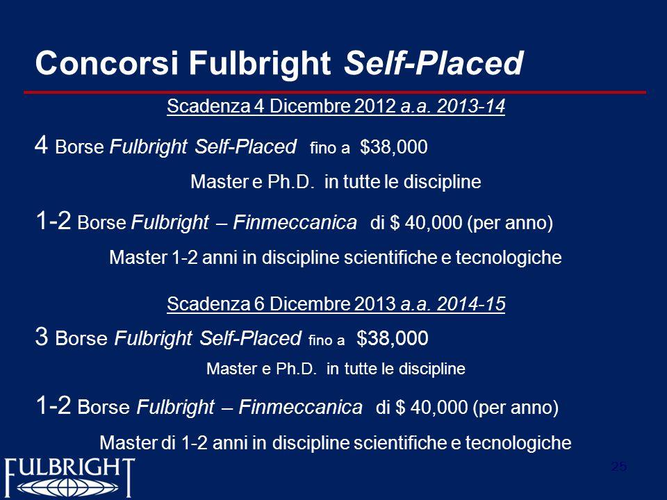 25 Concorsi Fulbright Self-Placed Scadenza 4 Dicembre 2012 a.a. 2013-14 4 Borse Fulbright Self-Placed fino a $38,000 Master e Ph.D. in tutte le discip