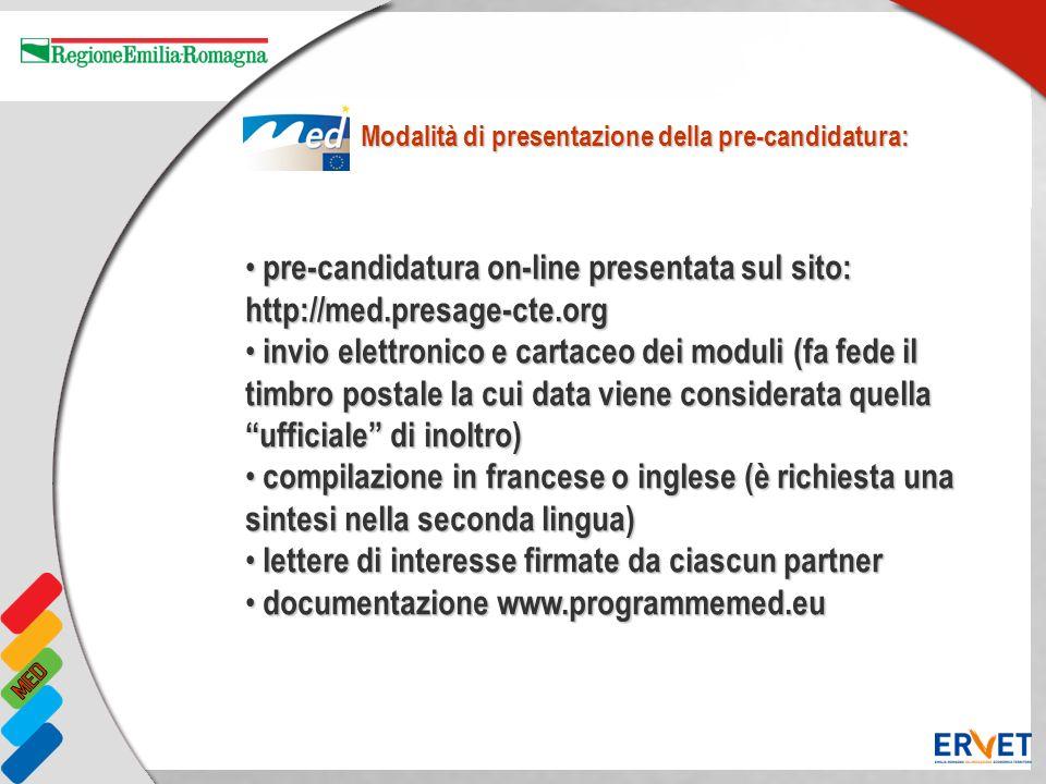 pre-candidatura on-line presentata sul sito: http://med.presage-cte.org pre-candidatura on-line presentata sul sito: http://med.presage-cte.org invio