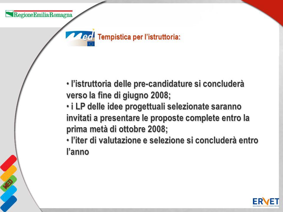 listruttoria delle pre-candidature si concluderà verso la fine di giugno 2008; listruttoria delle pre-candidature si concluderà verso la fine di giugn