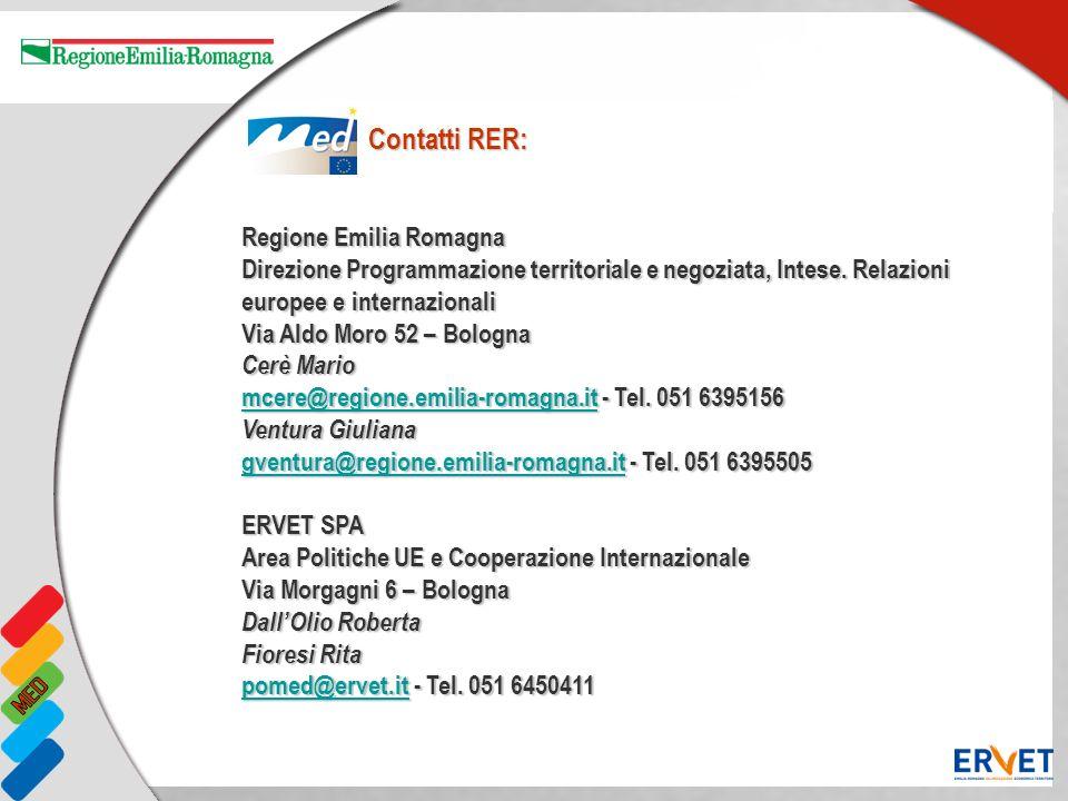 Regione Emilia Romagna Direzione Programmazione territoriale e negoziata, Intese. Relazioni europee e internazionali Via Aldo Moro 52 – Bologna Cerè M