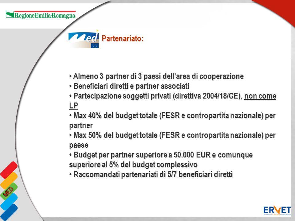 Almeno 3 partner di 3 paesi dellarea di cooperazione Almeno 3 partner di 3 paesi dellarea di cooperazione Beneficiari diretti e partner associati Bene