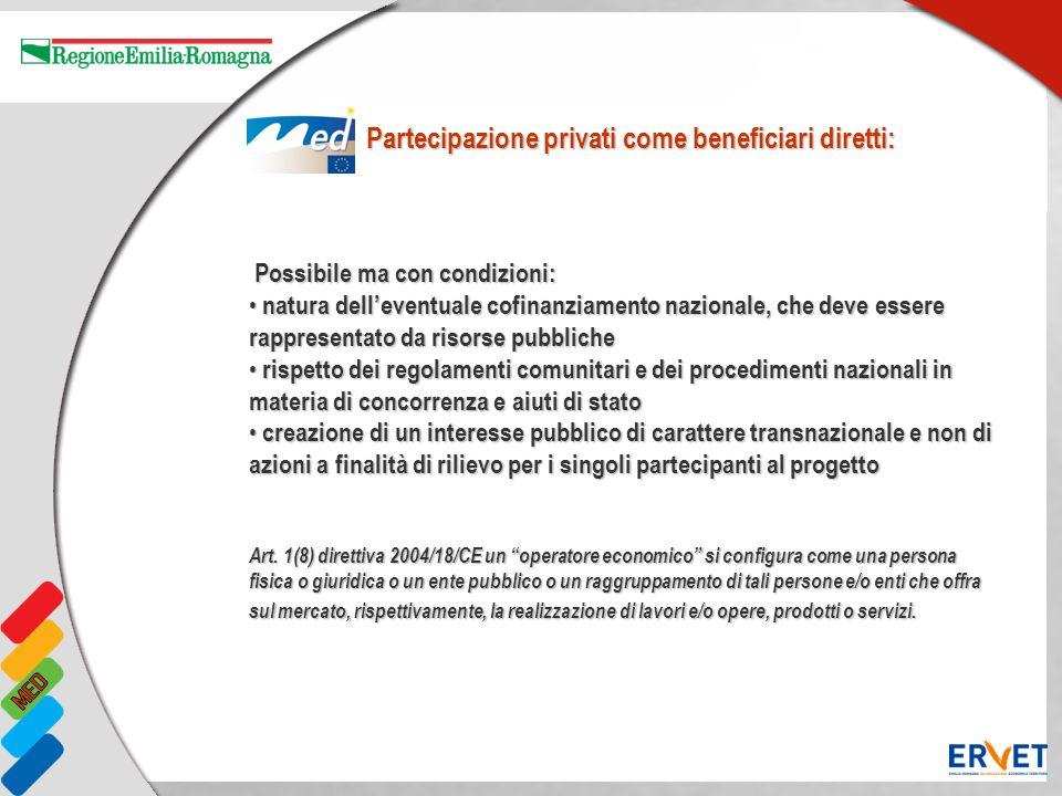 Possibile ma con condizioni: Possibile ma con condizioni: natura delleventuale cofinanziamento nazionale, che deve essere rappresentato da risorse pub