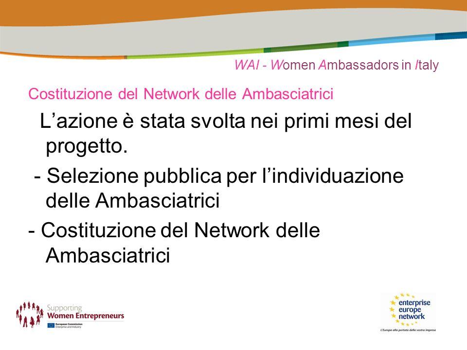 WAI - Women Ambassadors in Italy Costituzione del Network delle Ambasciatrici Lazione è stata svolta nei primi mesi del progetto.