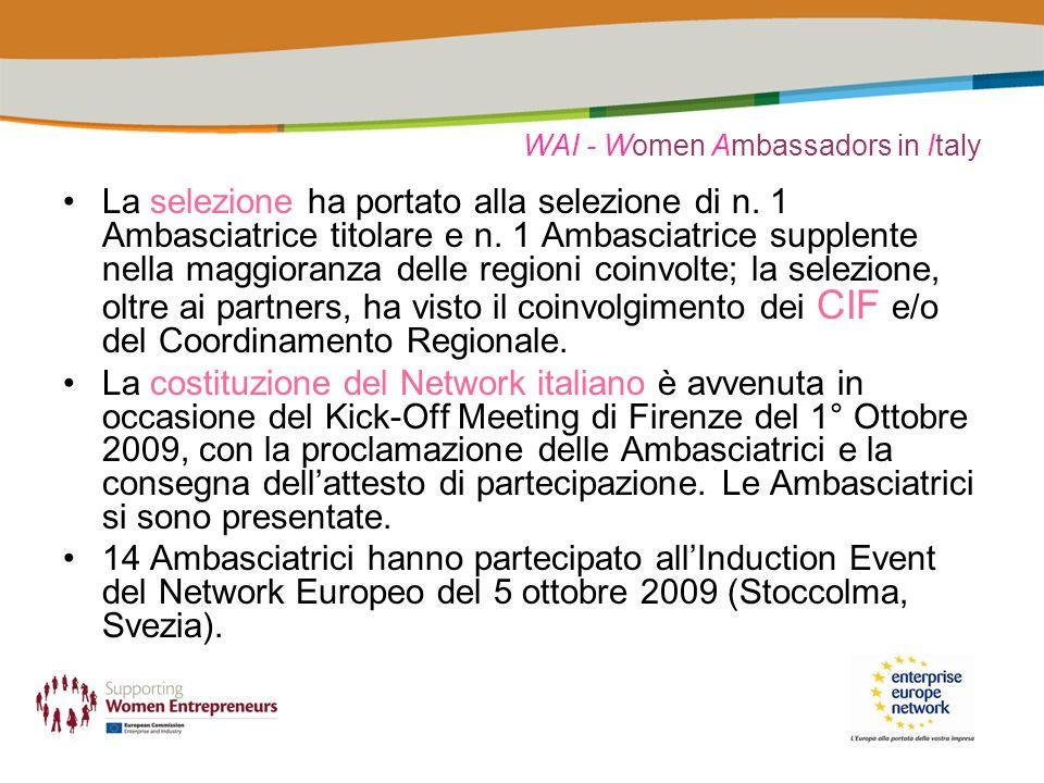 WAI - Women Ambassadors in Italy La selezione ha portato alla selezione di n.