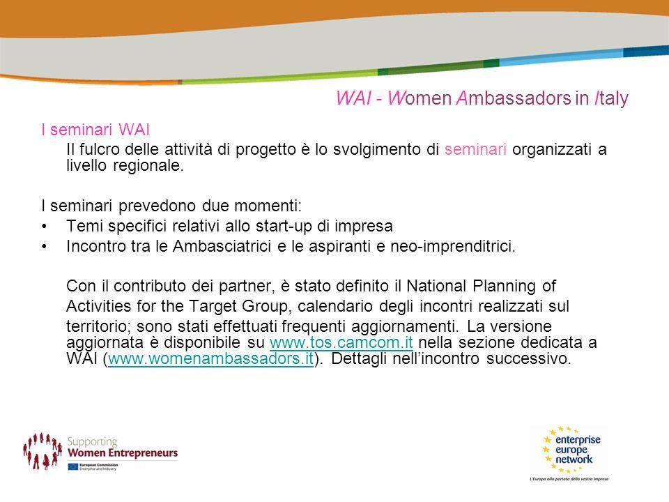 I seminari WAI Il fulcro delle attività di progetto è lo svolgimento di seminari organizzati a livello regionale.