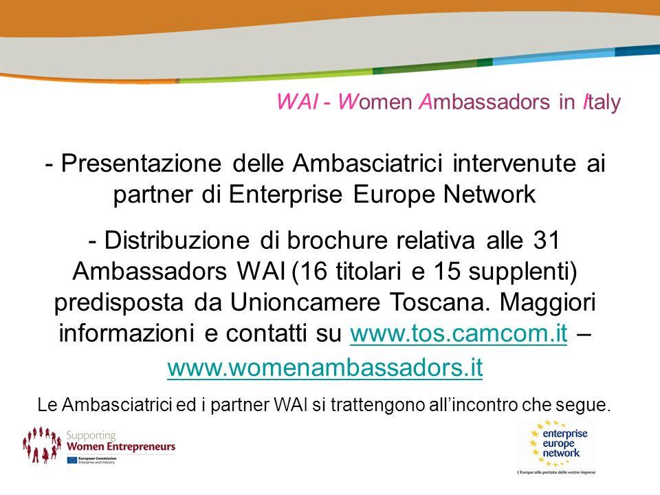 WAI - Women Ambassadors in Italy - Presentazione delle Ambasciatrici intervenute ai partner di Enterprise Europe Network - Distribuzione di brochure relativa alle 31 Ambassadors WAI (16 titolari e 15 supplenti) predisposta da Unioncamere Toscana.