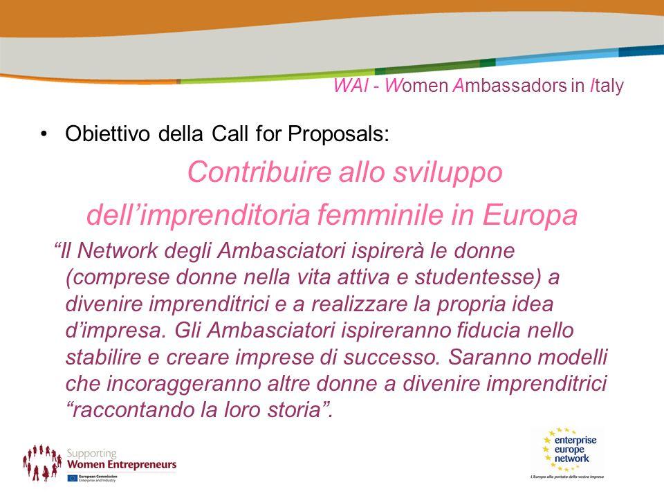 WAI - Women Ambassadors in Italy Obiettivo della Call for Proposals: Contribuire allo sviluppo dellimprenditoria femminile in Europa Il Network degli Ambasciatori ispirerà le donne (comprese donne nella vita attiva e studentesse) a divenire imprenditrici e a realizzare la propria idea dimpresa.