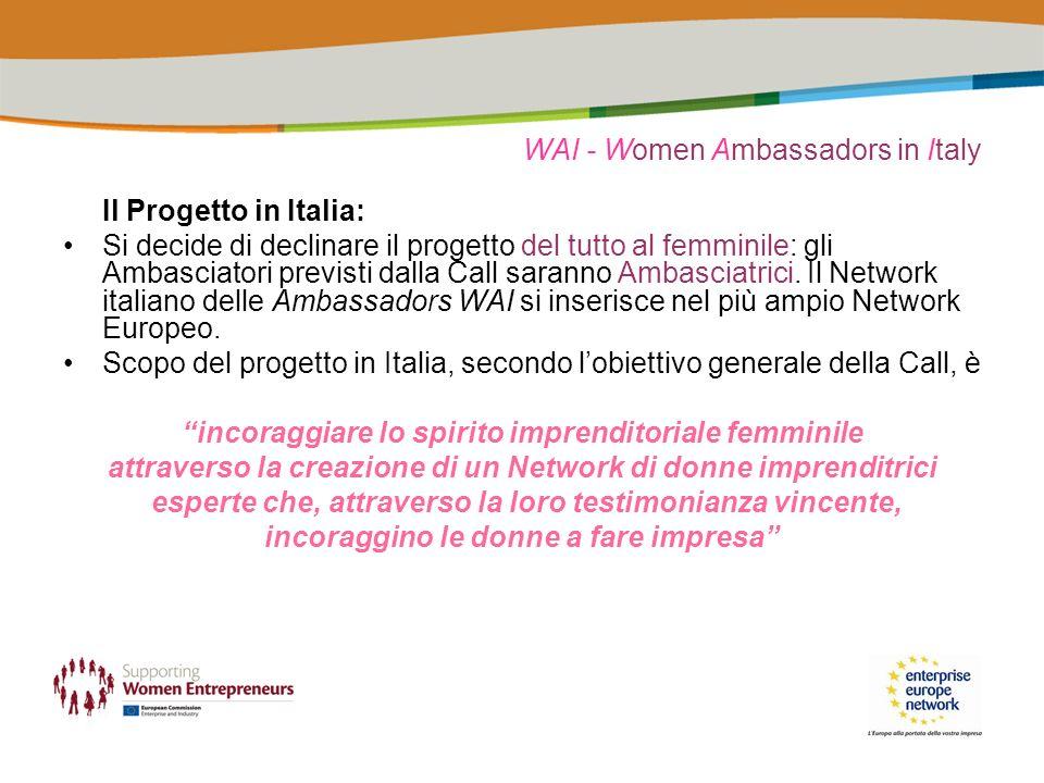 WAI - Women Ambassadors in Italy Il Progetto in Italia: Si decide di declinare il progetto del tutto al femminile: gli Ambasciatori previsti dalla Call saranno Ambasciatrici.