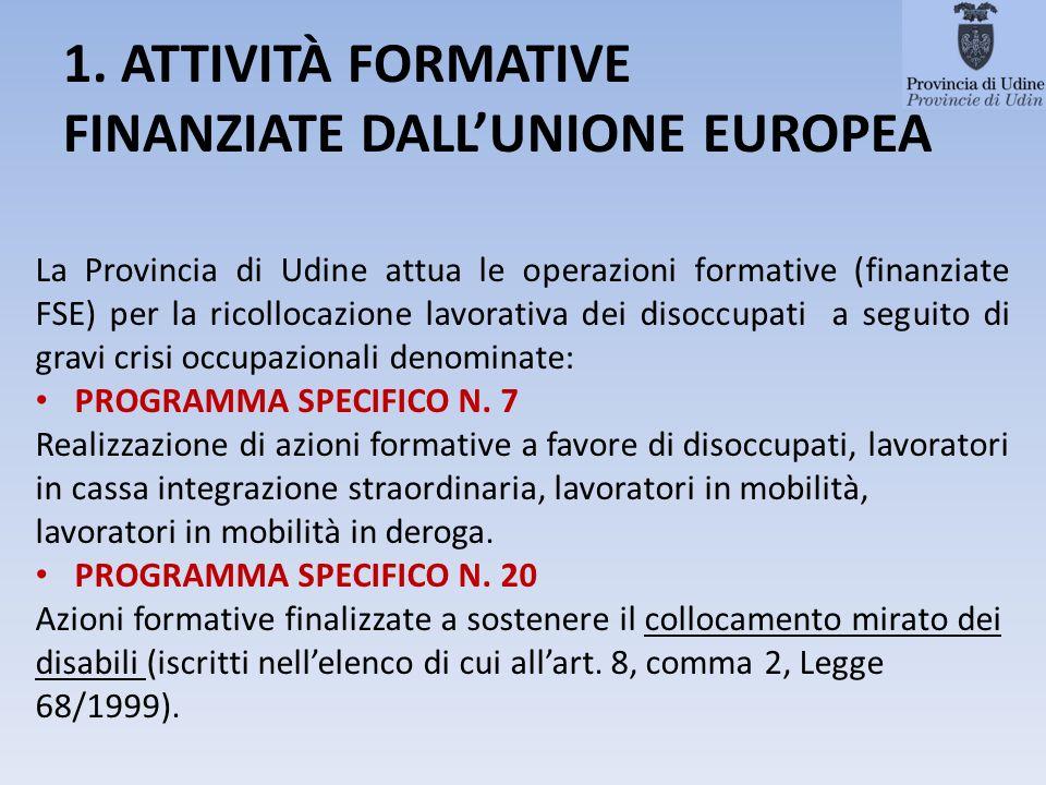 1. ATTIVITÀ FORMATIVE FINANZIATE DALLUNIONE EUROPEA La Provincia di Udine attua le operazioni formative (finanziate FSE) per la ricollocazione lavorat