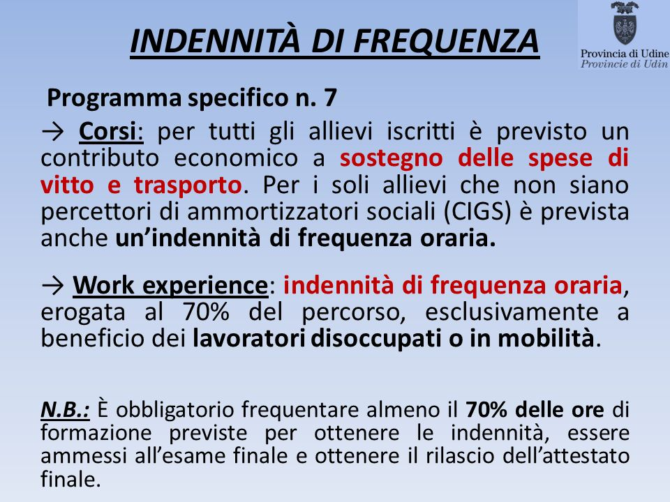 INDENNITÀ DI FREQUENZA Programma specifico n.