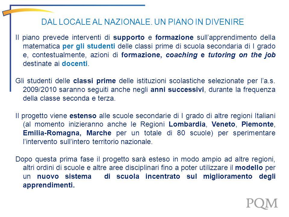 Il Progetto PQM-PON per lanno scolastico 2009-2010 coinvolge 320 scuole secondarie di I grado delle 4 Regioni Obiettivo Convergenza Campania Calabria Sicilia Puglia 80 50 110 80