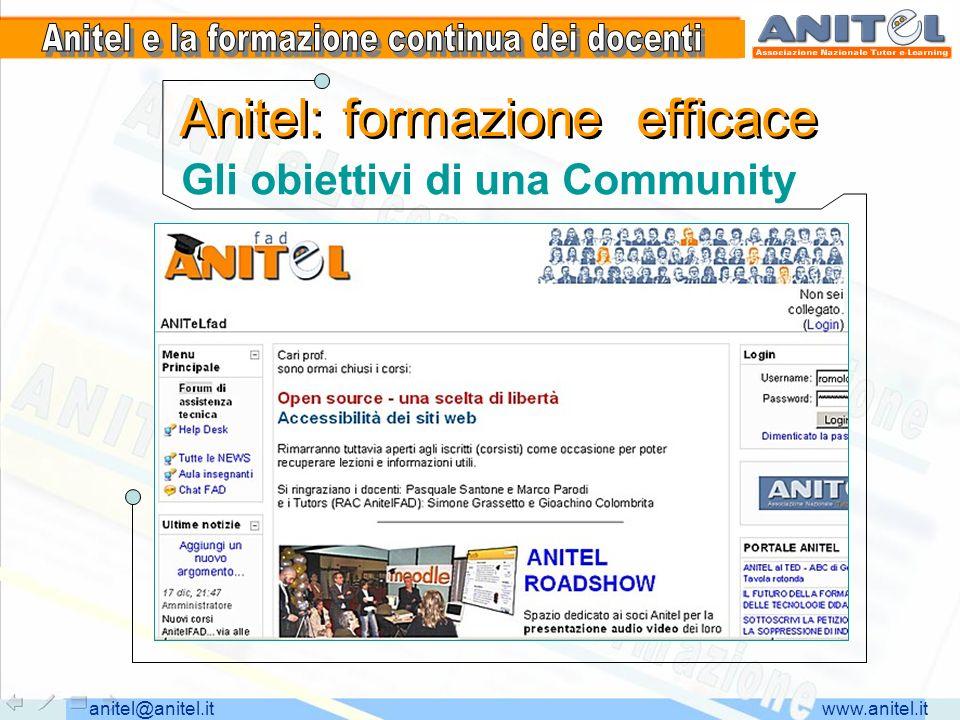www.anitel.itanitel@anitel.it Anitel: formazione efficace Gli obiettivi di una Community