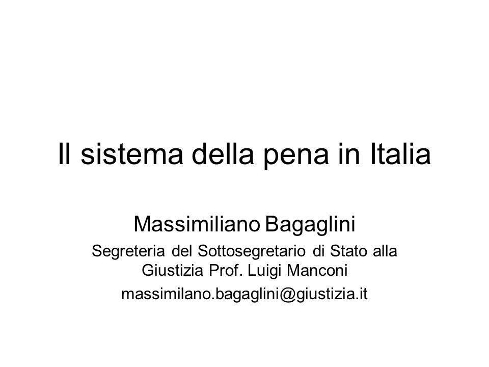 Il sistema della pena in Italia Massimiliano Bagaglini Segreteria del Sottosegretario di Stato alla Giustizia Prof. Luigi Manconi massimilano.bagaglin