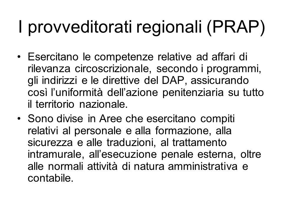 I provveditorati regionali (PRAP) Esercitano le competenze relative ad affari di rilevanza circoscrizionale, secondo i programmi, gli indirizzi e le d