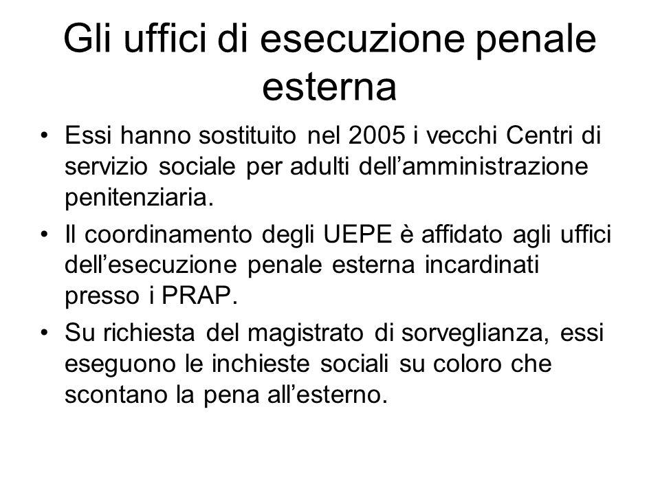 Gli uffici di esecuzione penale esterna Essi hanno sostituito nel 2005 i vecchi Centri di servizio sociale per adulti dellamministrazione penitenziari