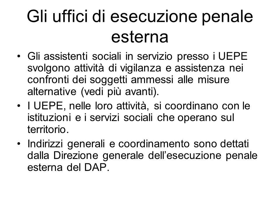Gli uffici di esecuzione penale esterna Gli assistenti sociali in servizio presso i UEPE svolgono attività di vigilanza e assistenza nei confronti dei