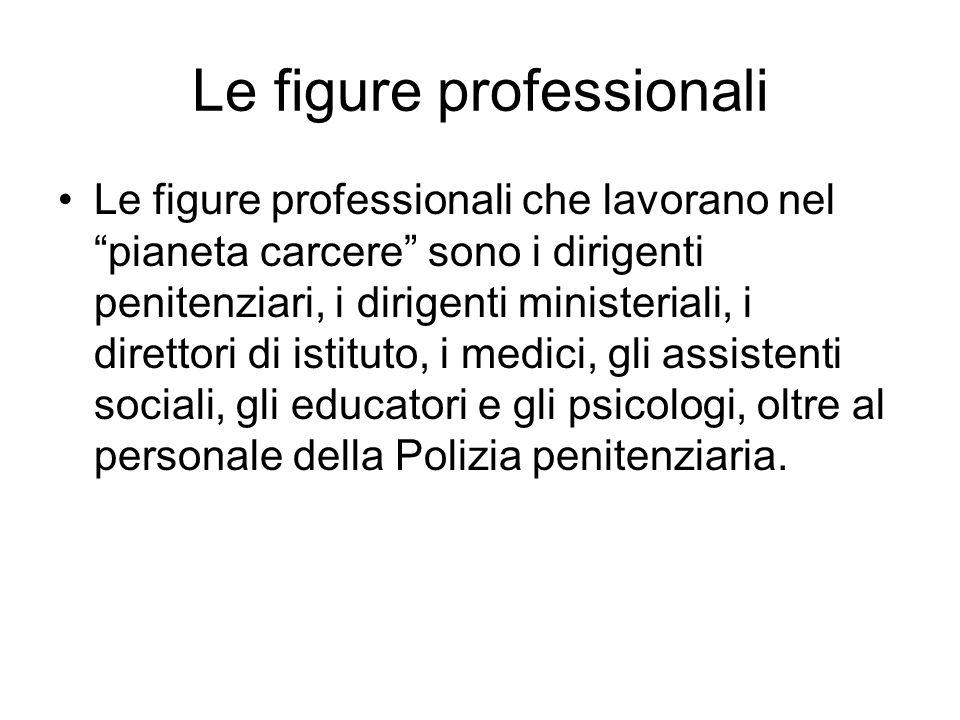 Le figure professionali Le figure professionali che lavorano nel pianeta carcere sono i dirigenti penitenziari, i dirigenti ministeriali, i direttori