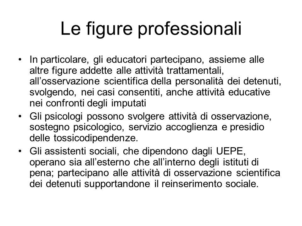 Le figure professionali In particolare, gli educatori partecipano, assieme alle altre figure addette alle attività trattamentali, allosservazione scie