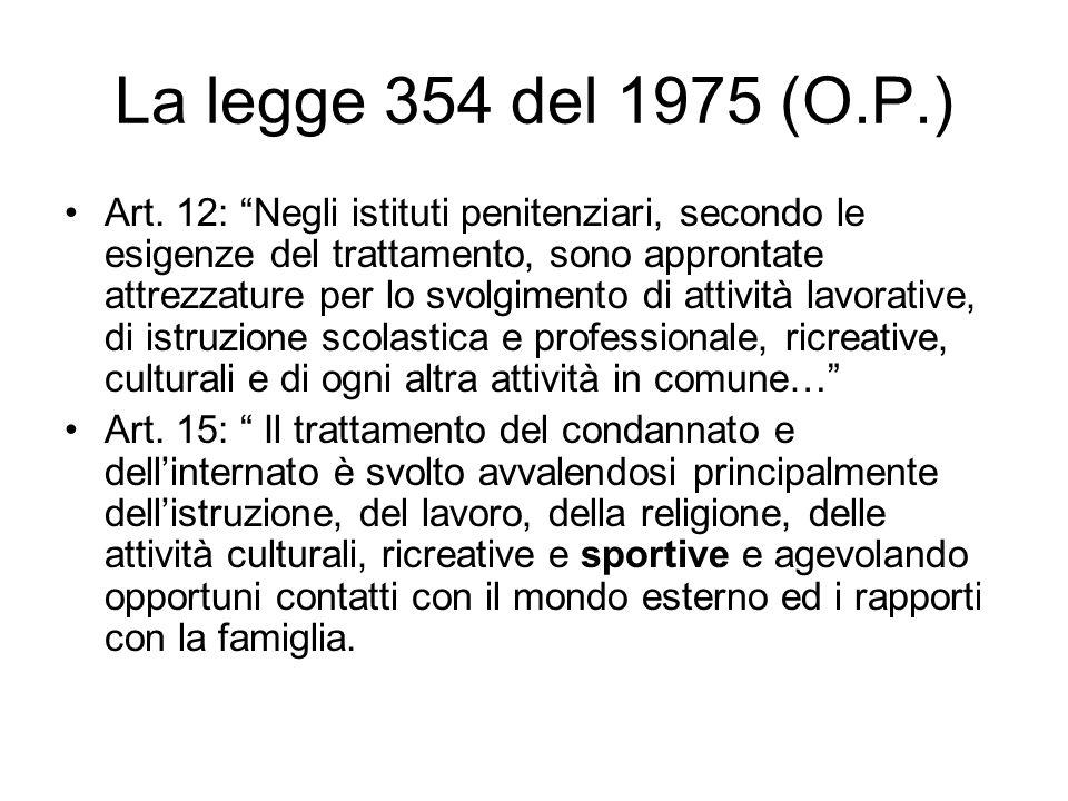 La legge 354 del 1975 (O.P.) Art. 12: Negli istituti penitenziari, secondo le esigenze del trattamento, sono approntate attrezzature per lo svolgiment