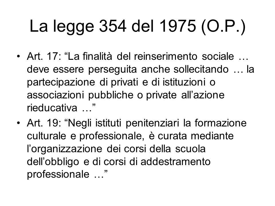 La legge 354 del 1975 (O.P.) Art. 17: La finalità del reinserimento sociale … deve essere perseguita anche sollecitando … la partecipazione di privati