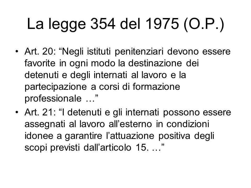 La legge 354 del 1975 (O.P.) Art. 20: Negli istituti penitenziari devono essere favorite in ogni modo la destinazione dei detenuti e degli internati a