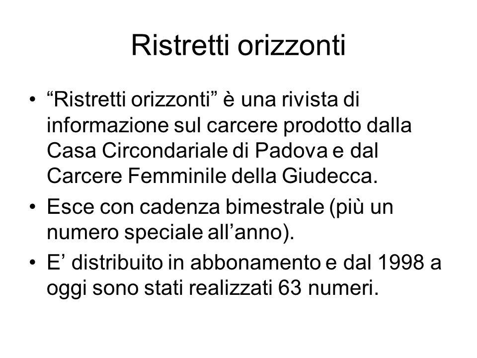 Ristretti orizzonti Ristretti orizzonti è una rivista di informazione sul carcere prodotto dalla Casa Circondariale di Padova e dal Carcere Femminile