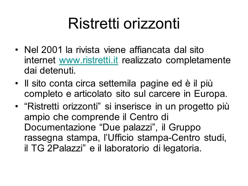 Ristretti orizzonti Nel 2001 la rivista viene affiancata dal sito internet www.ristretti.it realizzato completamente dai detenuti.www.ristretti.it Il