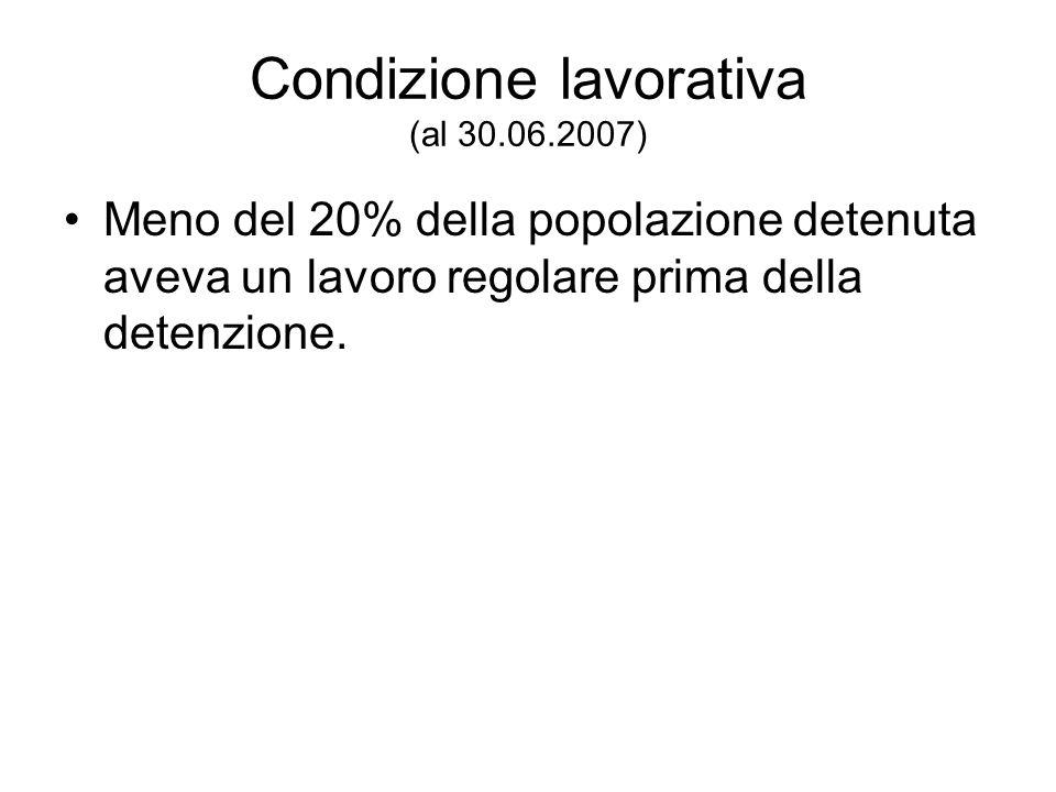 Condizione lavorativa (al 30.06.2007) Meno del 20% della popolazione detenuta aveva un lavoro regolare prima della detenzione.