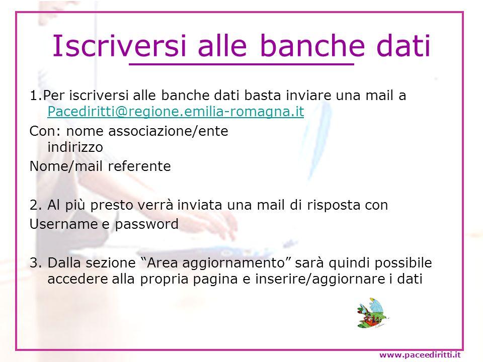 Iscriversi alle banche dati 1.Per iscriversi alle banche dati basta inviare una mail a Pacediritti@regione.emilia-romagna.it Pacediritti@regione.emili