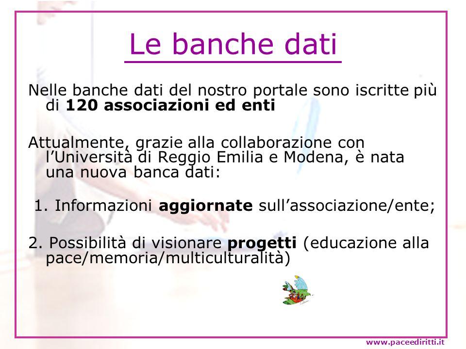 Ricerca nelle banche dati Nella sezione delle banche dati sono possibili due tipi di ricerca: Cerca enti ed associazioni...