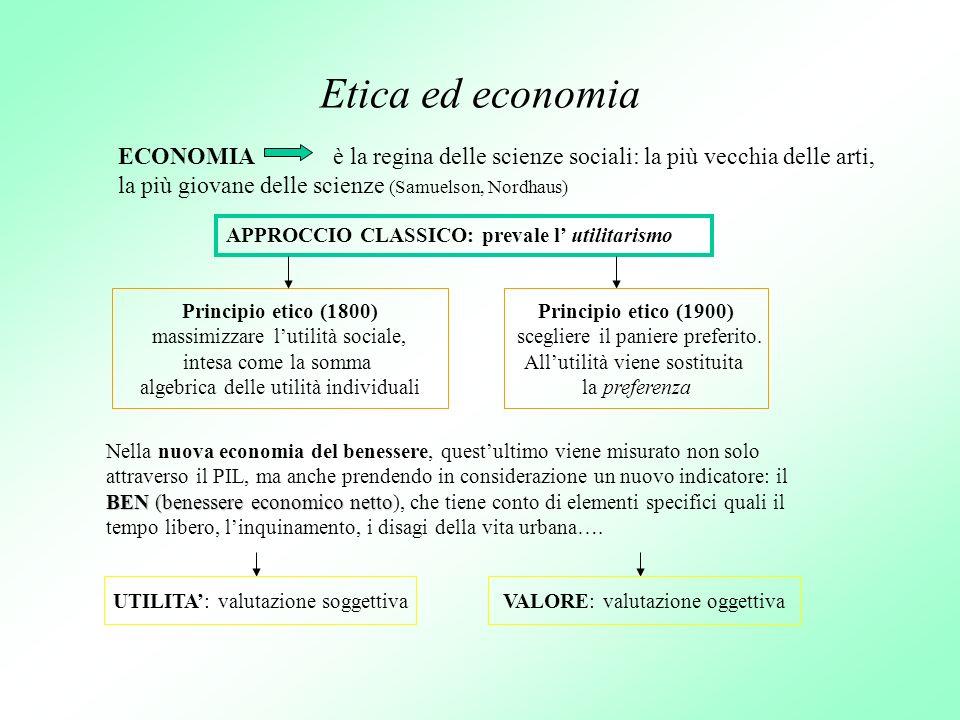 Etica ed economia ECONOMIA è la regina delle scienze sociali: la più vecchia delle arti, la più giovane delle scienze (Samuelson, Nordhaus) APPROCCIO