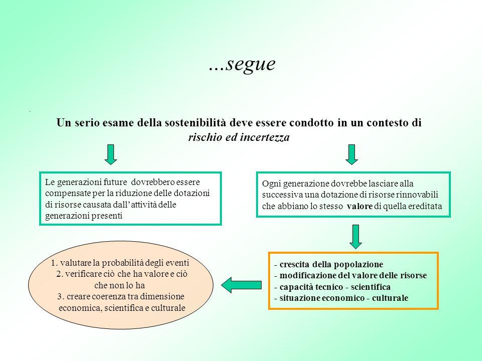 …segue. Un serio esame della sostenibilità deve essere condotto in un contesto di rischio ed incertezza Le generazioni future dovrebbero essere compen