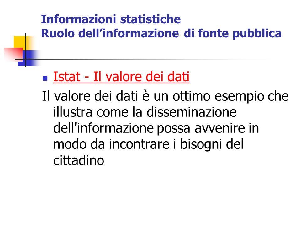 Informazioni statistiche Ruolo dellinformazione di fonte pubblica Istat - Il valore dei dati Il valore dei dati è un ottimo esempio che illustra come la disseminazione dell informazione possa avvenire in modo da incontrare i bisogni del cittadino
