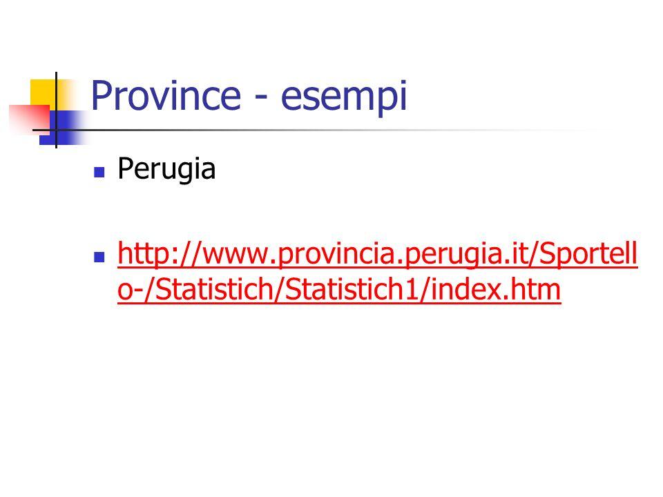 Province - esempi Perugia http://www.provincia.perugia.it/Sportell o-/Statistich/Statistich1/index.htm http://www.provincia.perugia.it/Sportell o-/Statistich/Statistich1/index.htm