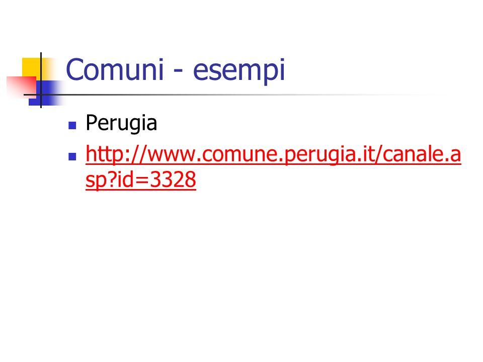 Comuni - esempi Perugia http://www.comune.perugia.it/canale.a sp id=3328 http://www.comune.perugia.it/canale.a sp id=3328