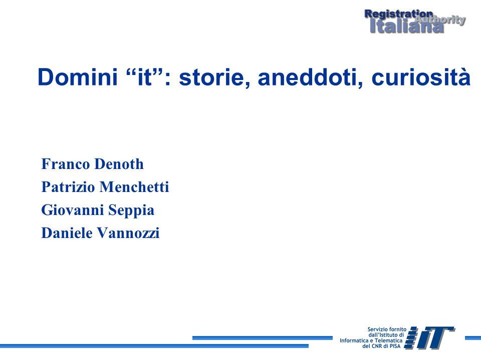 Domini it: storie, aneddoti, curiosità Franco Denoth Patrizio Menchetti Giovanni Seppia Daniele Vannozzi