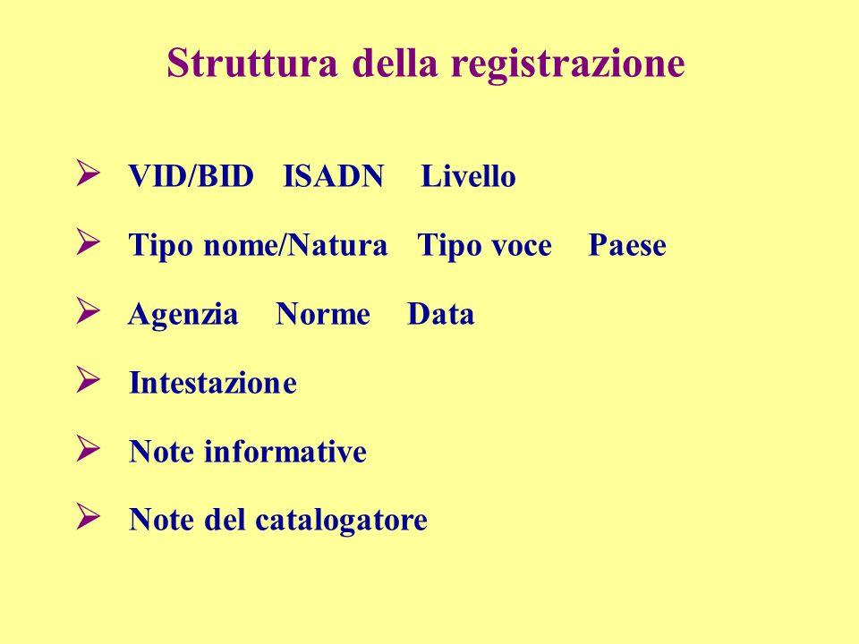 Struttura della registrazione VID/BID ISADN Livello Tipo nome/Natura Tipo voce Paese Agenzia Norme Data Intestazione Note informative Note del catalogatore