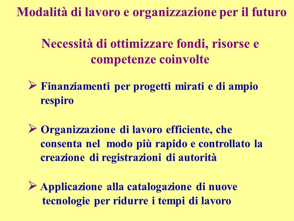 Finanziamenti per progetti mirati e di ampio respiro Organizzazione di lavoro efficiente, che consenta nel modo più rapido e controllato la creazione