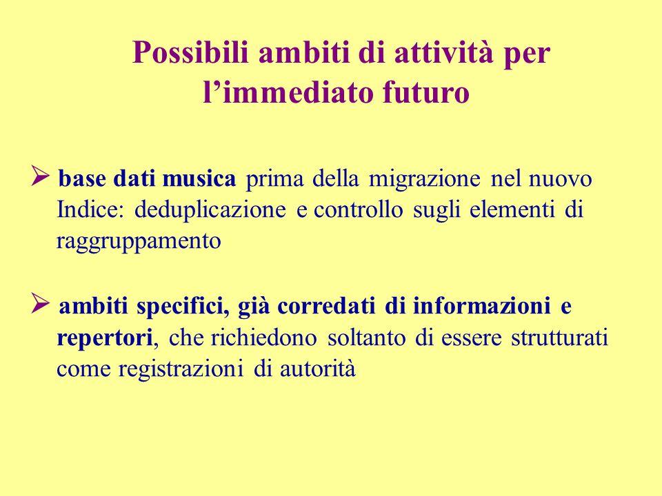 base dati musica prima della migrazione nel nuovo Indice: deduplicazione e controllo sugli elementi di raggruppamento ambiti specifici, già corredati