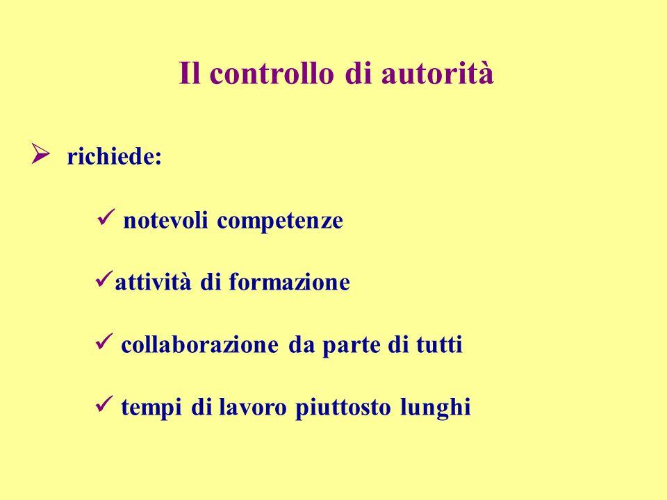 Il controllo di autorità richiede: notevoli competenze attività di formazione collaborazione da parte di tutti tempi di lavoro piuttosto lunghi