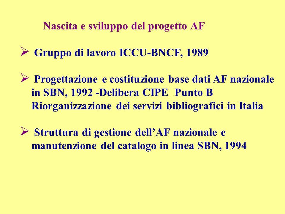 Nascita e sviluppo del progetto AF Gruppo di lavoro ICCU-BNCF, 1989 Progettazione e costituzione base dati AF nazionale in SBN, 1992 -Delibera CIPE Pu